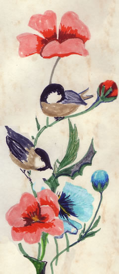Chickadees on poppy